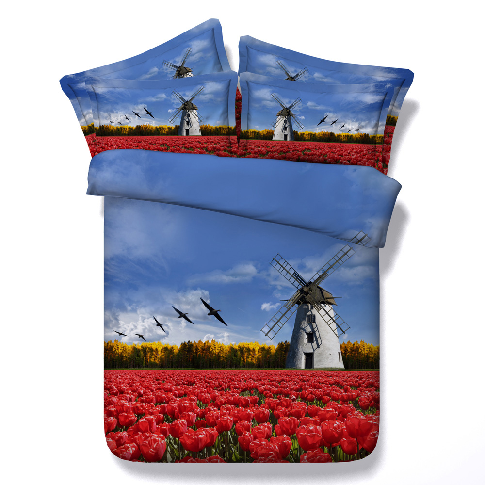 Red Tulip Field and Windmill Wholesale Tencel Cotton 3d bed set