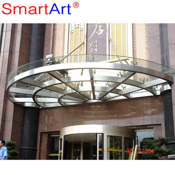 Glass Canopy For Stainless Steel Fronted Door Canopy Glass Roof