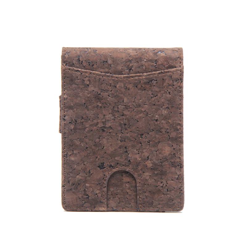 RFID Блокировка тонкий зажим для денег бумажник Двойные пробковые бумажник для мужчин
