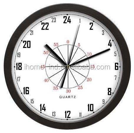 33e8bf343a9 Novos produtos na china 24 horas analógico rodada relógio de parede relógio  de parede de metal