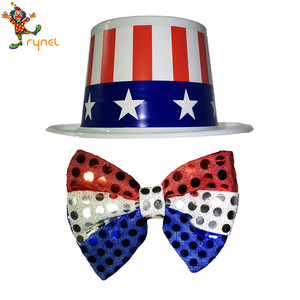 PGH0383 Uncle Sam Patriotic Red White and Blue America Stovepipe Felt Top Party Hat