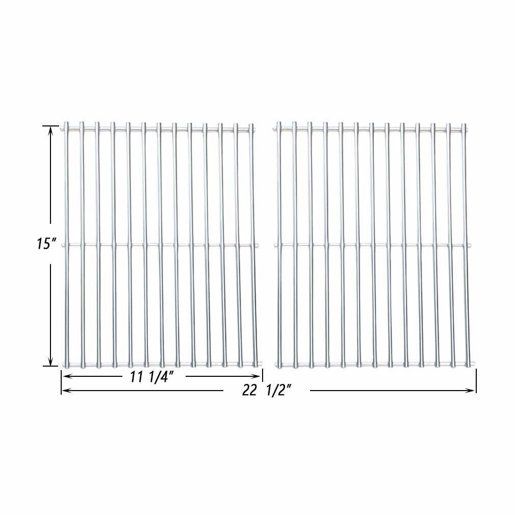 Onlyfire BBQ Stainless Steel Cladding Rod Cooking Grates / Cooking Grid Replacement, Set of 2 ( Replaces Weber 7521 )