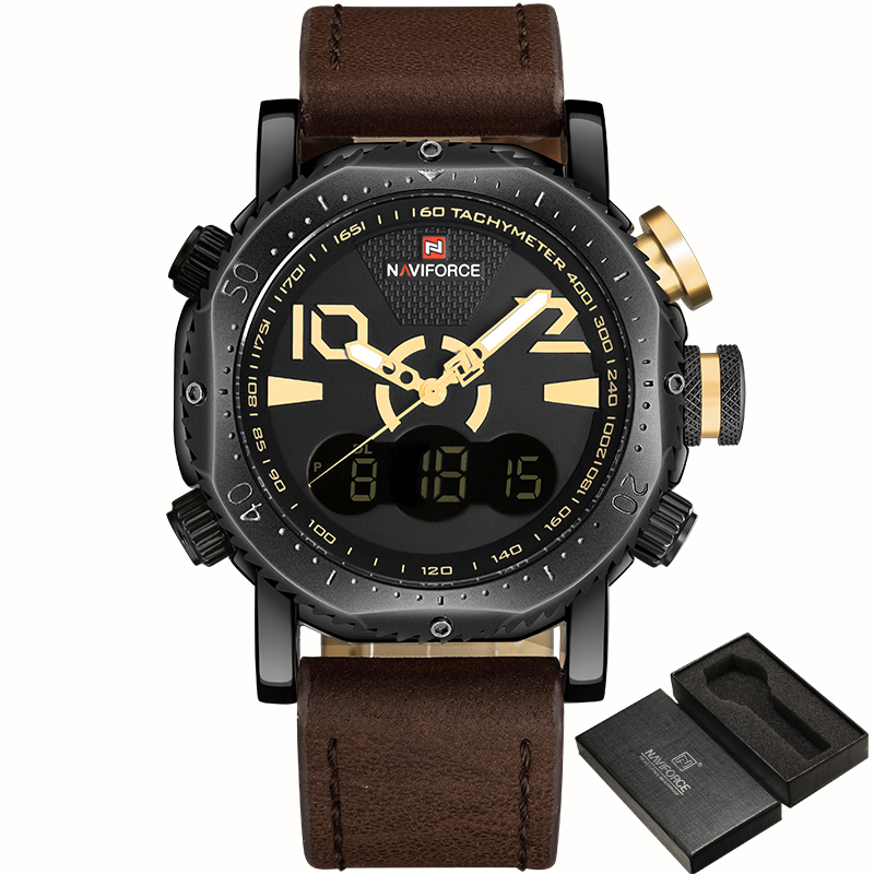 2017 Naviforce Men 9094 Luxury PU Leather Watches with Pointer and Digital Display for Sport