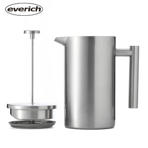 Everich Large French Press Coffee Maker Vacuum Insulated Stainless Steel Portable French Press Coffee Maker