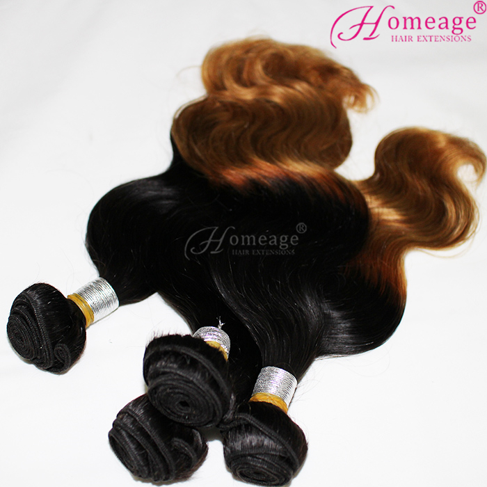 Homeage Hot Selling Ombre European Hair Weave 7A Body Wave 1B/30 Colourful