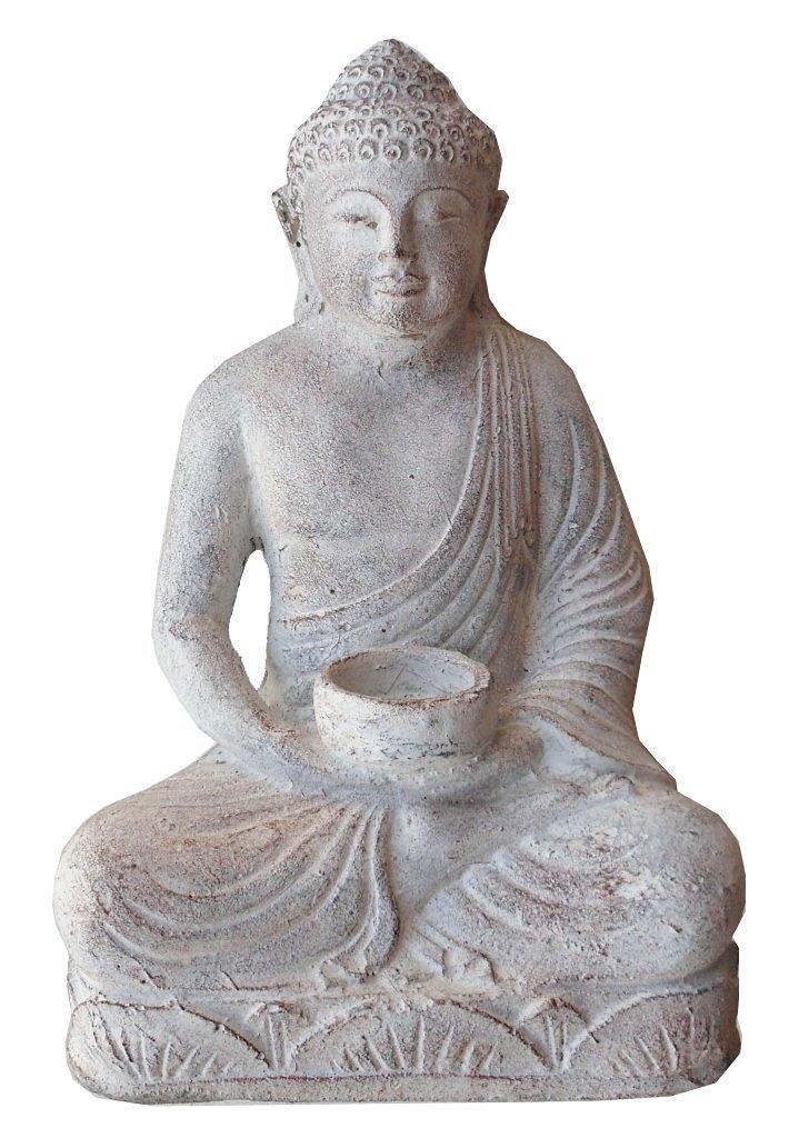 Sitting Buddha, cast stone Buddha statue with candle holder, white wash finish, 11.5'' high