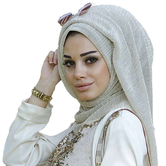 NEW Shimmer Pleated Hijab Gold Thread <strong>Scarf</strong> Women Veil <strong>Scarves</strong> Shawl Sparkling Muslim Headcloth <strong>Custom</strong> <strong>Logo</strong>