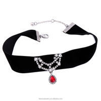 Fancy Women Jewelry Vintage Ruby Crystal Charm Plain Velvet Ribbon Choker Chain Necklace For Women Wholesale