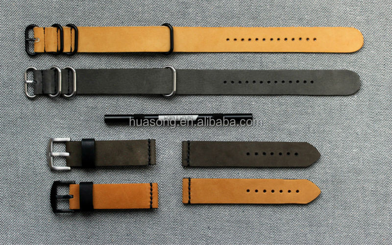 hot saling leather watch strap,fashion nato leather watch strap,nato and zulu strap(M-258)
