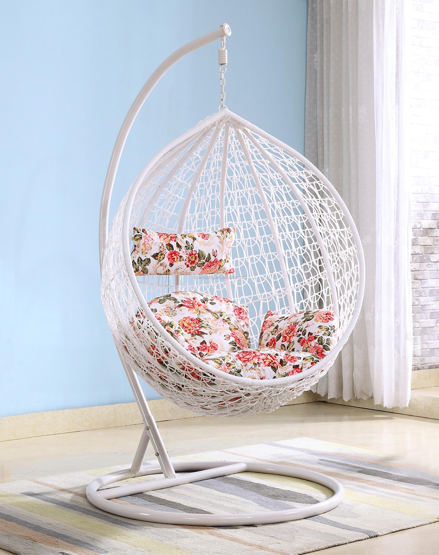 White Patio Garden Wicker Rattan Hanging Egg Swing Chair