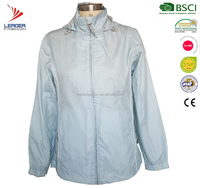 women 100% polyester waterproof outerdoor rain jacket with hood