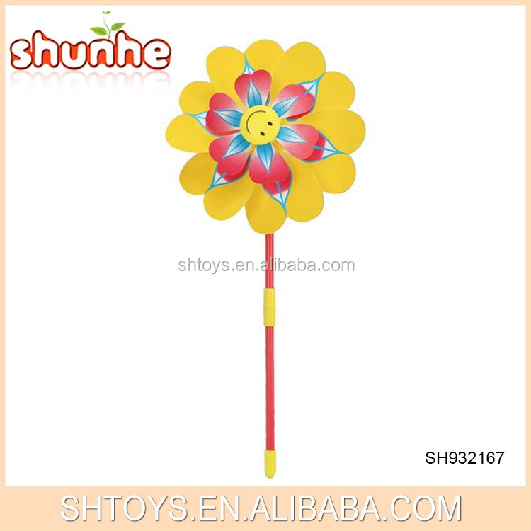 Colorful outdoor wholesale price flower toy pinwheel for kids