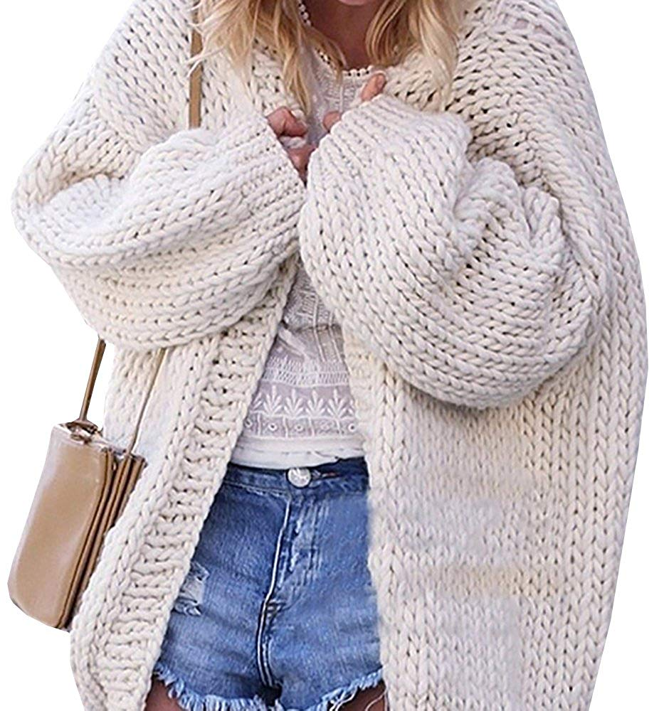 Get Quotations · Bbalizko Womens Puff Sleeve Oversized Cable Knit Cardigan  Chunky Sweater Warm Coat 6f7189146