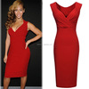 New Arrival Stock Red Bodycon Dress Bottom Price Women Plain Party Free Prom Women Dresses 2016