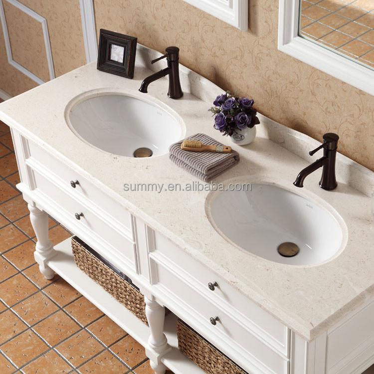 S 2160 en am rique classique blanc bois massif double lavabo meuble salle de - Meuble salle de bain classique ...
