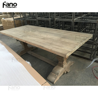 vintage rustic style reclaimed wood handcrafted trestle dining table