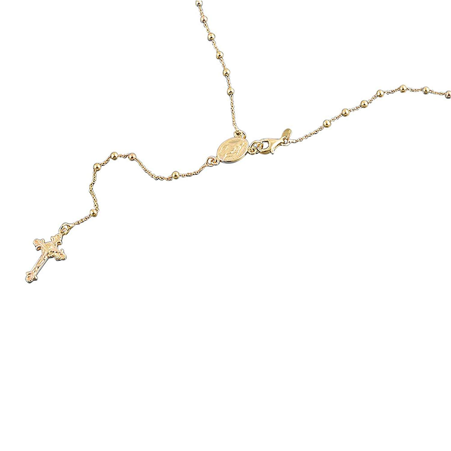 """14K Yellow Gold Plated Sterling Silver Rosary Necklace 2.5mm Bead Cross Italian Rosary Chain ( 16""""~24"""" )"""