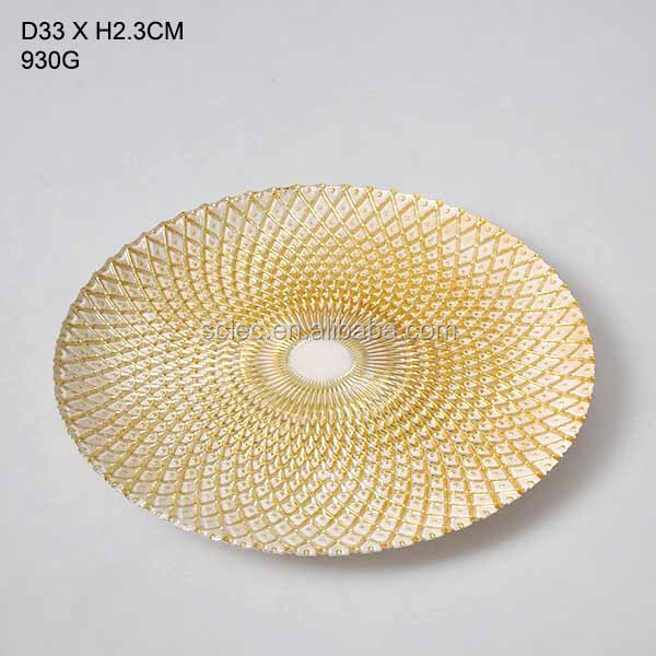 Round Gold Glass Plate Chargers Wedding Decorative Charger plate for wedding