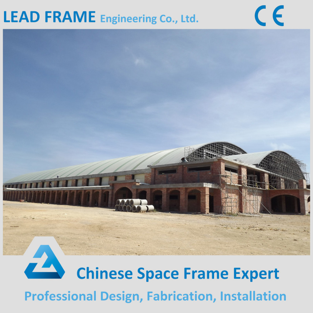 Arched space frame stadium curved roof steel structure