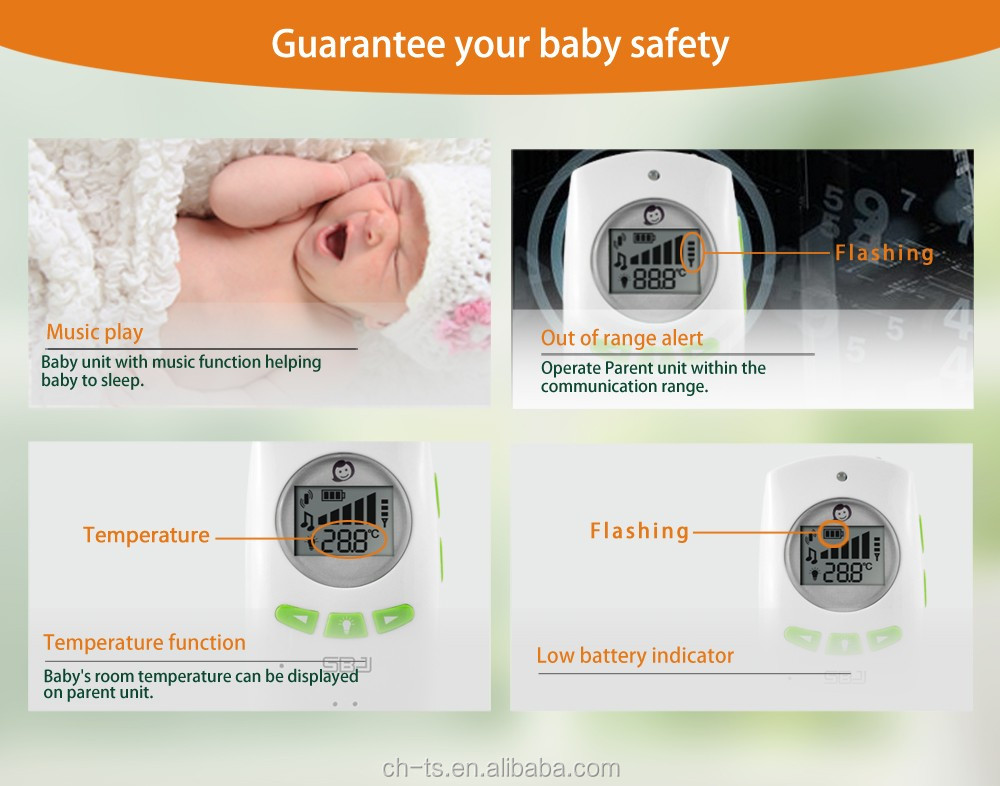wireless home audio baby monitor temperature monitoring digital audio baby phone