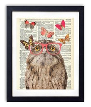 Nerd Owl With Butterflies Upcycled Vintage Dictionary Art Print 8x10