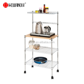 Kitchen Microwave Trolley Cart Stand,3 Tier Kitchen Metal Wire Mesh Racks  And Holders Shelves With Wheel - Buy 3 Tier Wire Rack With Wheel,3 Tier  Wire ...