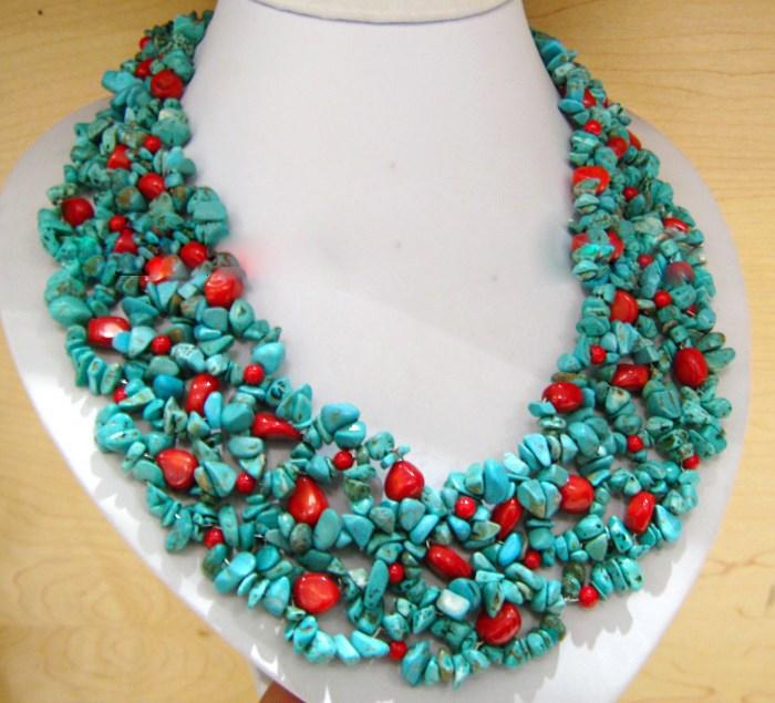 maravilhoso contas de turquesa vermelho coral contas colar para