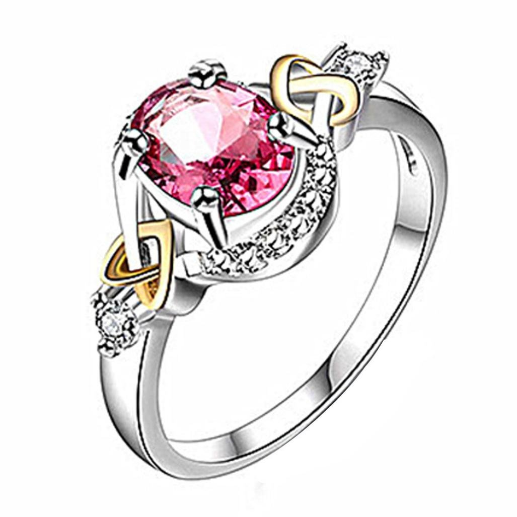 AutumnFall Women Fashion Wedding Engagement Ring Silver Plated Alloy Crystal Jewelry Rings (Size 6, Red)