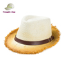 woven fashion worn-out vintage paper straw fedora hat