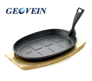 "Cast Iron Sizzle Platter With Wooden Serving Board Sizzler Plate 9"" x 5"""