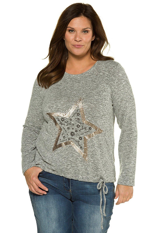 Ulla Popken Women's Plus Size Star Sequin Sweatshirt 715485
