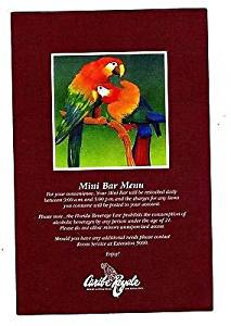 Caribe Royal Mini Bar Menu Lake Buena Vista Florida Disneyworld Parrots on Cover