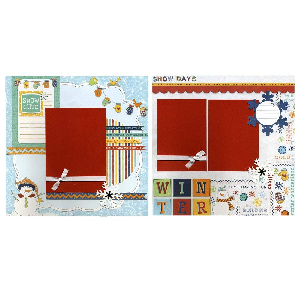 Snow Cute - Two Coordinating 12x12 Premade Scrapbook Pages