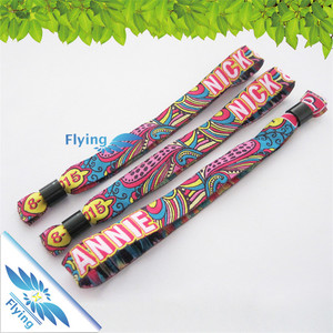 polyester textile woven ribbon custom cloth wristband bracelet with clip for wedding