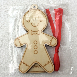Wooden christmas cookie man small pendant hanging christmas tree wooden cookie man ornament