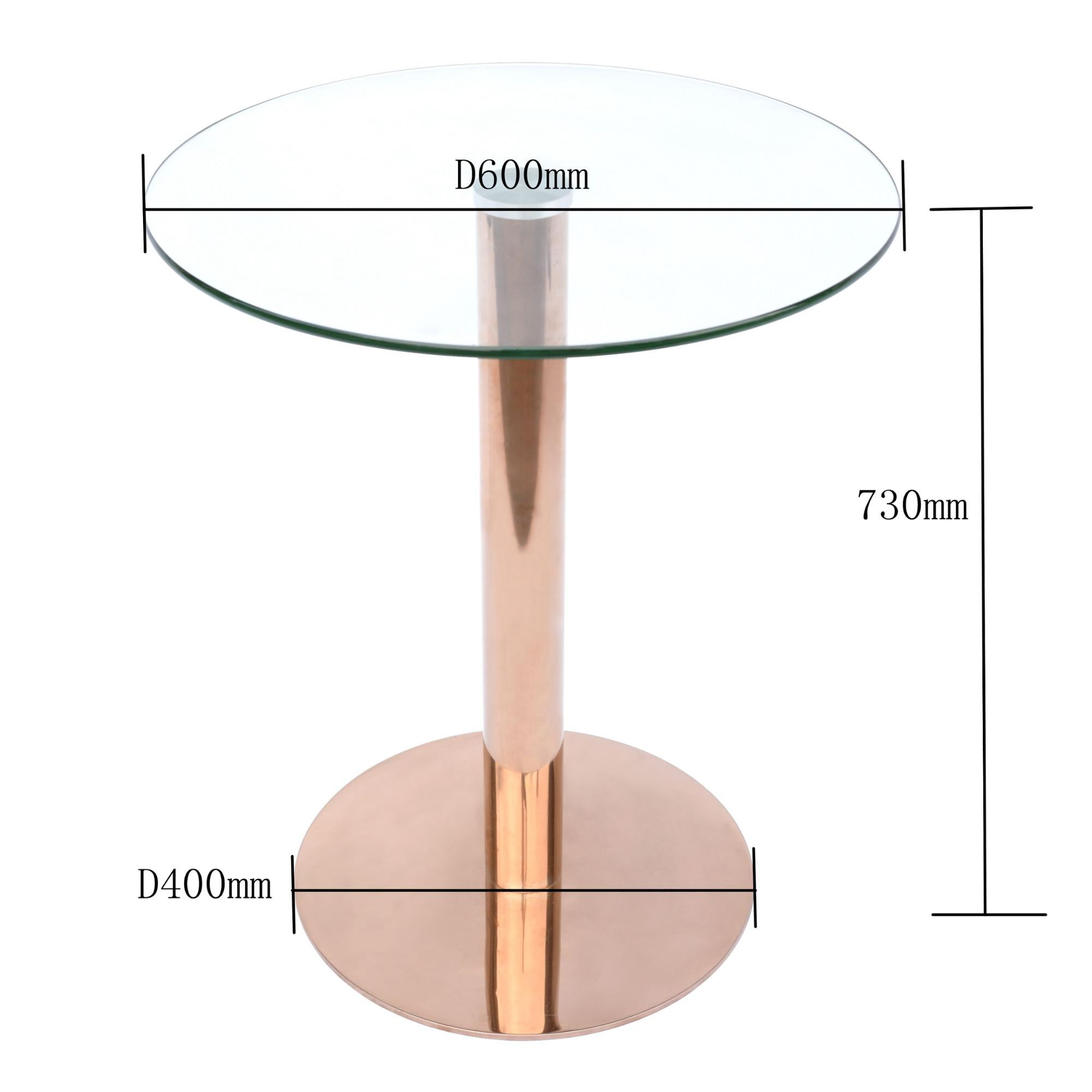 Luxury Rose Gold Legs Stainless Steel Glass Dining Table Color