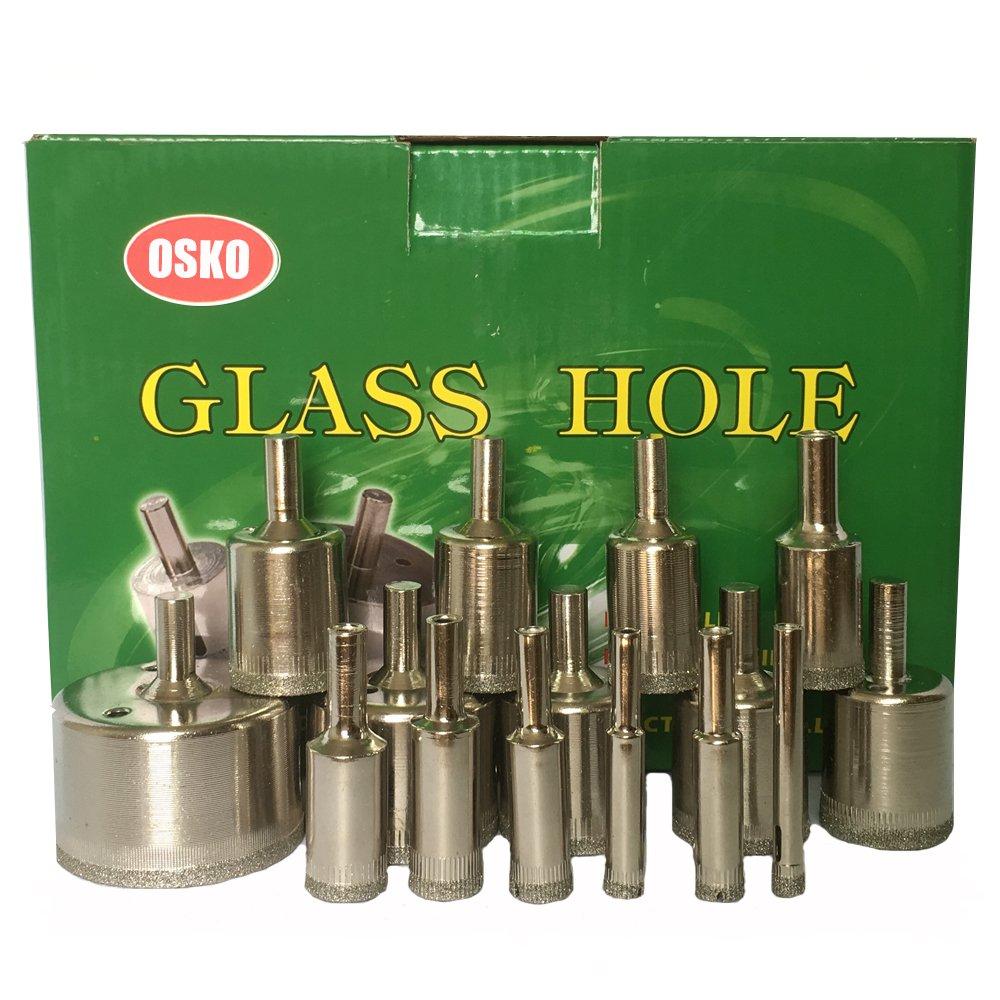15 Pcs Diamond Drill Bit Set 6mm,8mm,10mm,12mm,14mm,16mm,18mm,20mm,22mm,25mm,26mm,28mm,30mm,40mm,50mm,Wet Use for Tiles, Glass,Granite,Ceramic,Porcelain, Diamond Coated Drills - Kitchen, Bathroom