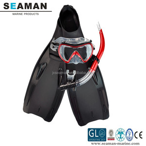 adult silicone Diving mask snorkel tube set with 35-46 size fins for skin diving snorkeling water sports