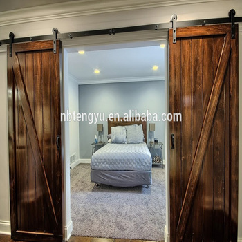 Framed Z Double Barn Door With Sliding Barn Door Fittings Used For Hotel  Bedroom