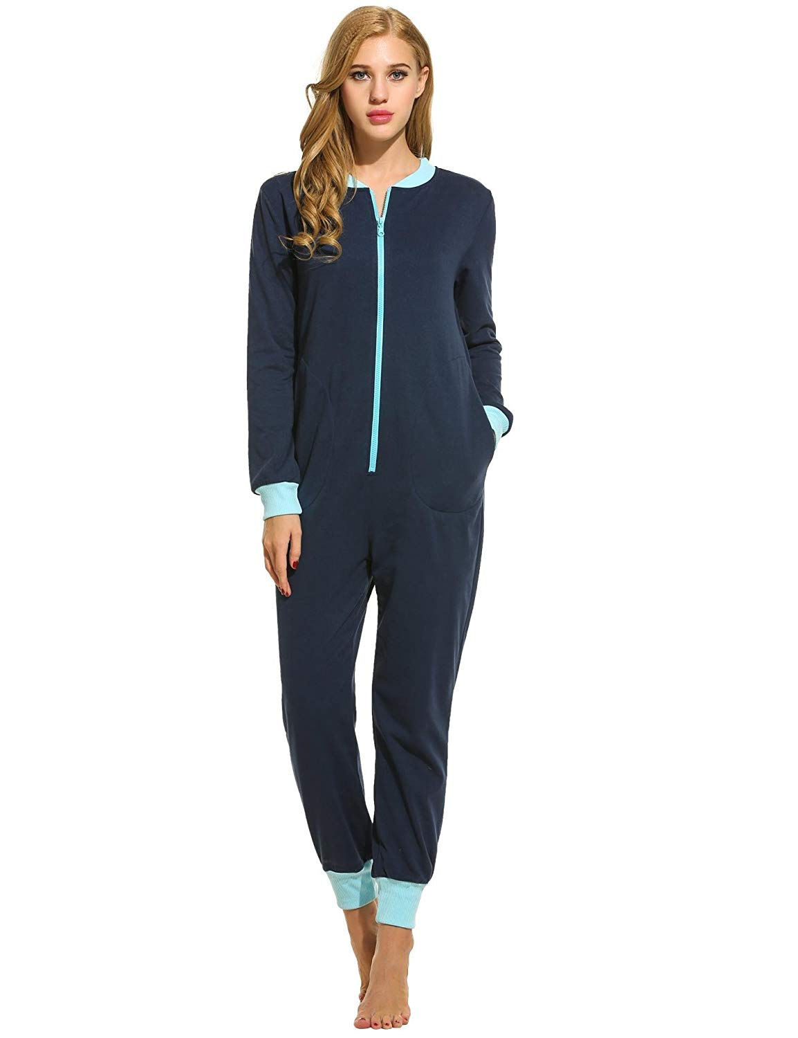 7b516bbebc8b Get Quotations · Ekouaer Women s Jumpsuit One Piece Non Footed Pajama  Playsuit
