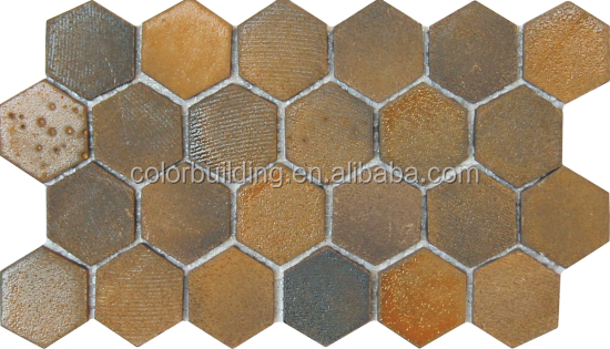 Piastrelle In Pietra Lavica : Pietra lavica mosaici fatti a mano esagono mosaici piastrelle