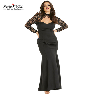 5db6678c8bb 2018 Elegant Black Sheer Lace Long Sleeve Plus Size Party Dress