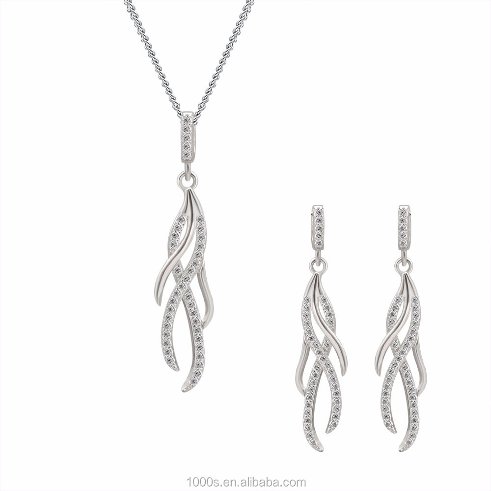 Simple Design 925 Sterling Silver Jewelry Set for Women, Streamline Silver Jewelry Wholesale