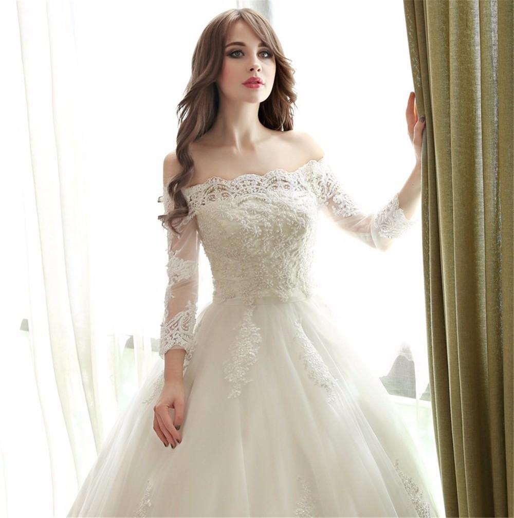 Simple And Elegant Wedding Dresses Boat Neck Three Quarter: Boat Neck 3/4 Sleeve Princess Wedding Dress