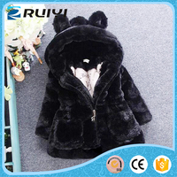 Clothing manufacturer girl's faux fur rabbit ear hooded outwear