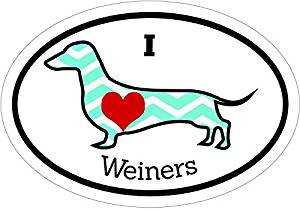 Dachshund Decal - I Love Wieners Dachshund Vinyl Sticker - Dachshund Bumper Sticker - Wiener Dog Decal - Perfect Dachshund Dog Owner Gift, Made in the USA