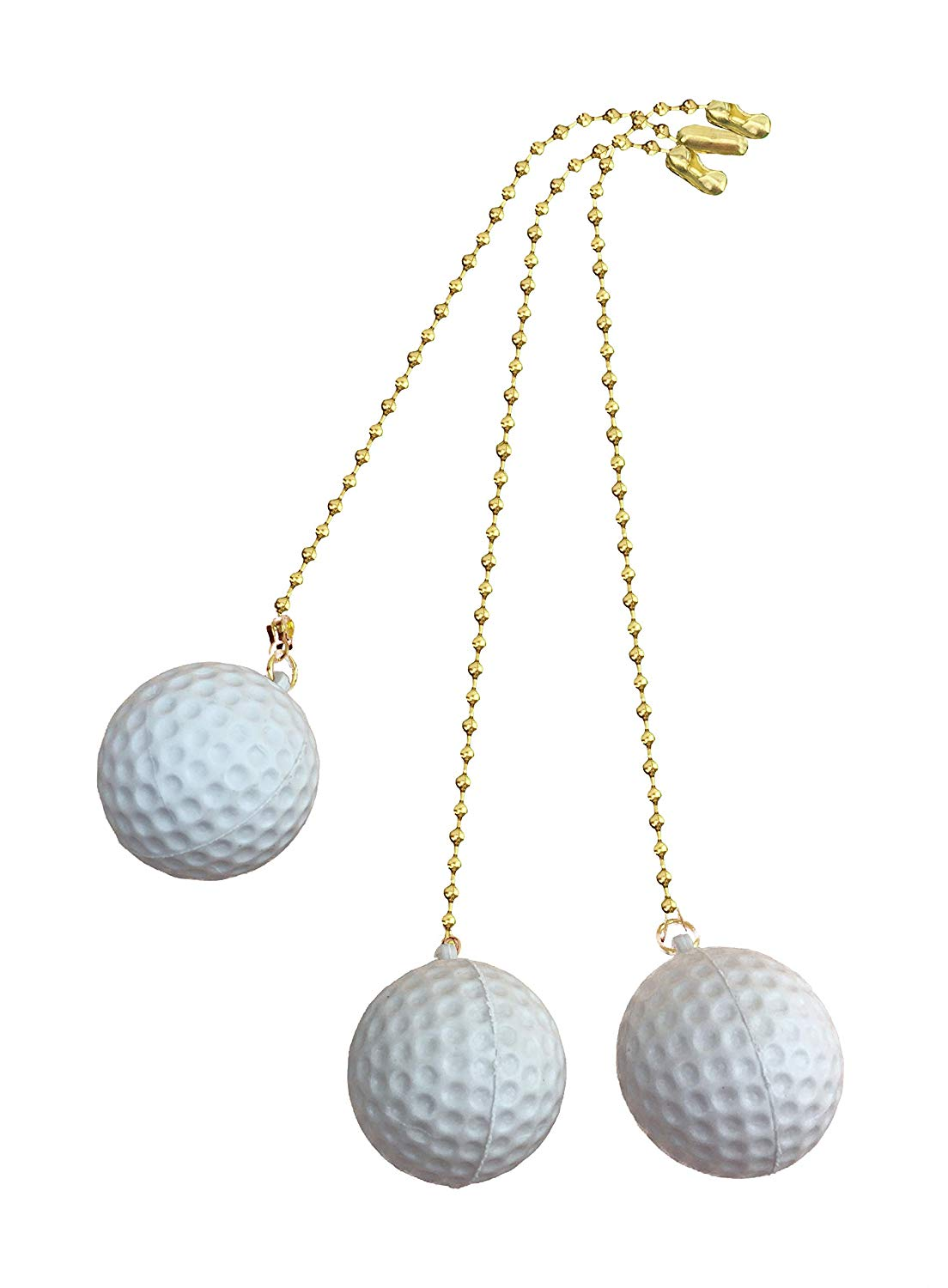 Decorative Golf Ball Sports Ceiling fan pull with beaded chain - 3 Pack - FA1004
