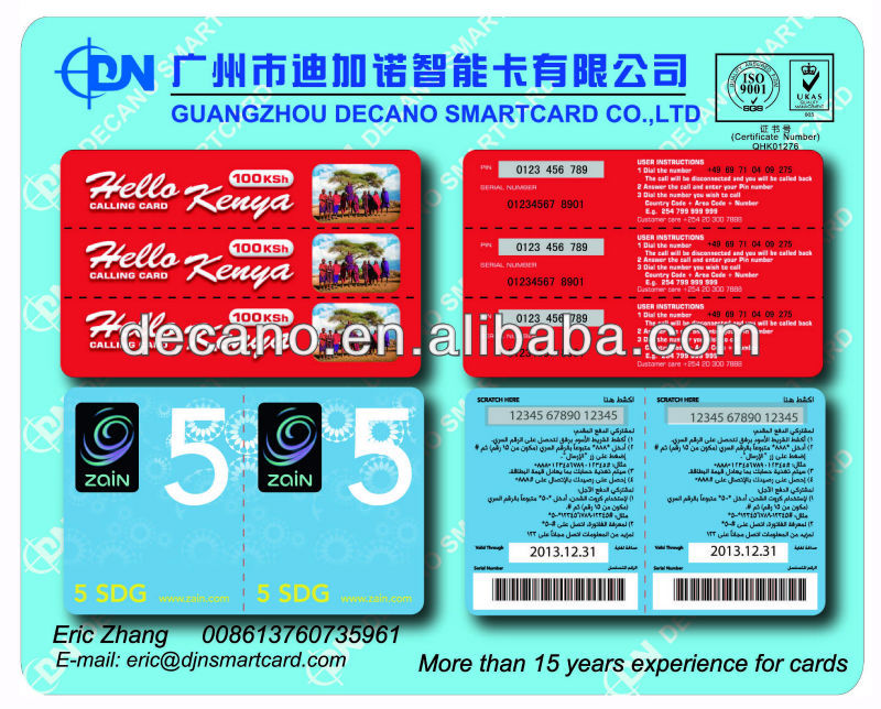 Paper Scratch prepaid Card with multi pins