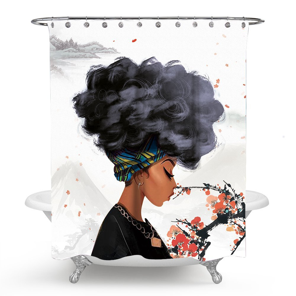 Chengsan African Women Shower Curtain Decor by, African American Woman Black Hair African Girl Polyester Mildew Resistant Fabric Waterproof Bathroom Shower Curtain Set (71x71 inch, 7)