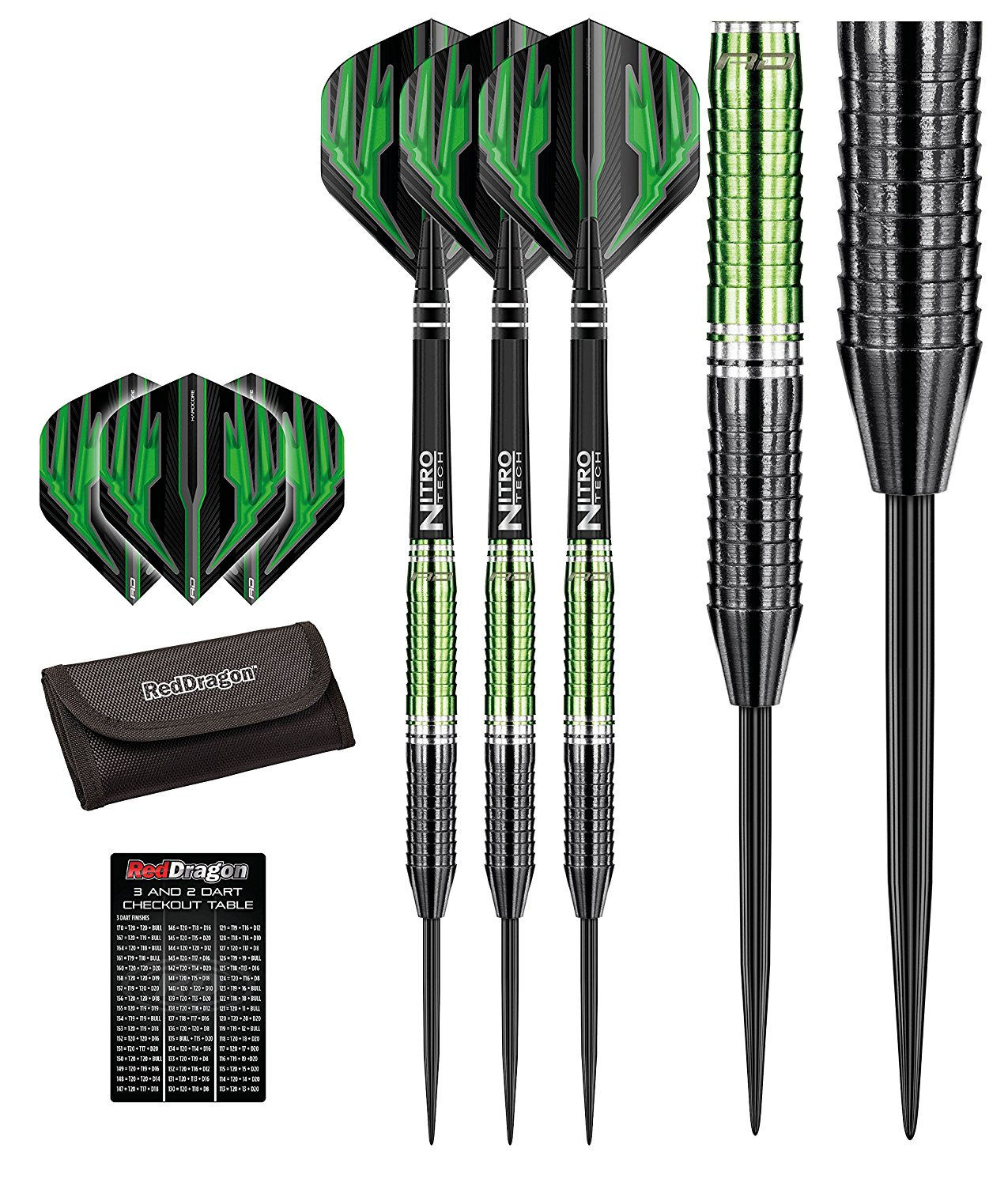 Red Dragon Razor Edge ZX-2 - 85% Tungsten Steel Darts with Flights, Shafts, Wallet & Red Dragon Checkout Card